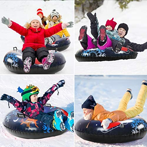 Snow Tube Inflatable Snow Sled - 47 inches Heavy-Duty Snow Tube for Kids & Adults, Super Thick 0.7mm PVC Snow Tubes Inflatable Float for Winter Outdoor Sledding, Perfect Christmas/ New Year Gift