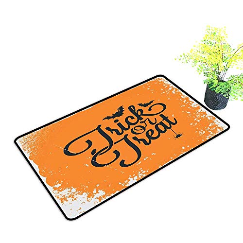 Diycon Non-Slip Door mat Vintage Halloween Trick or Treat Halloween Theme Celebration Image Bats Tainted Backdrop W24 xL35 Quick and Easy to Clean Orange Black -