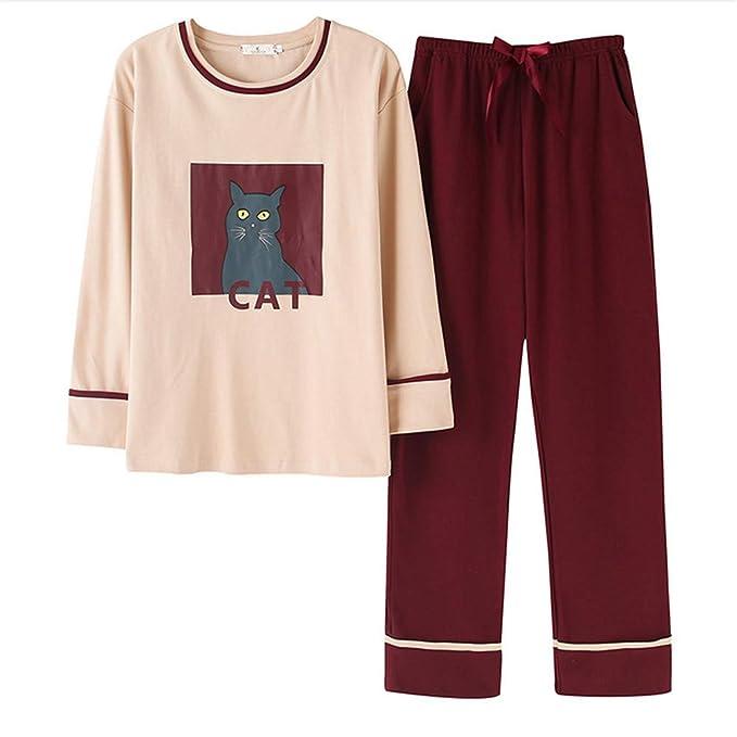 Meaeo Pijamas De Gato De Dibujos Animados Lindo Conjuntos De Ropa De Dormir De Algodón De Manga Larga Cuello Redondo Femme Pijamas para Mujeres Set De Dos ...