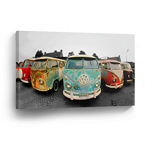 Decorative Canvas Print Vintage Volkswagen Van Bus Art Modern Wall D cor Artwork Wrapped Wood Stretcher Bars – Ready to Hang – 100 Handmade in the USA – VWH9_1117