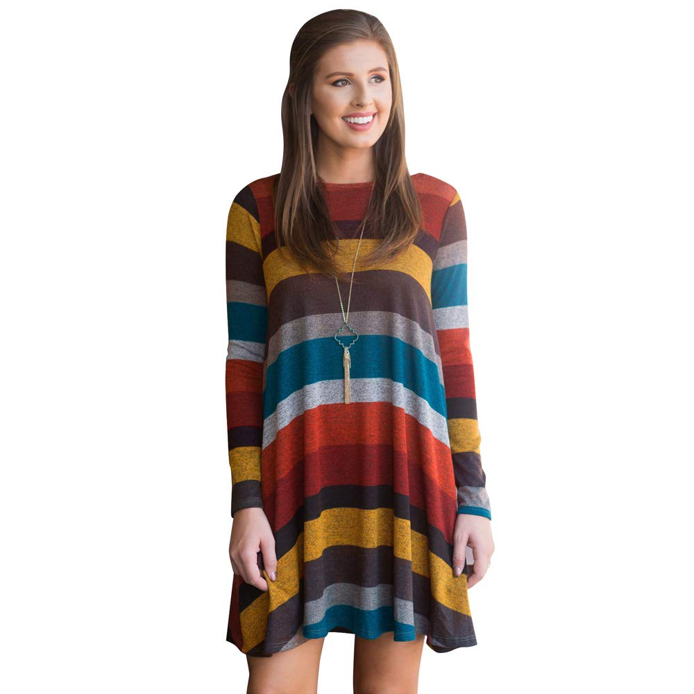 01yellow fancymano Womens Classic Wide Stripes Long Sleeve Elastic Loose Mini Dress Yellow