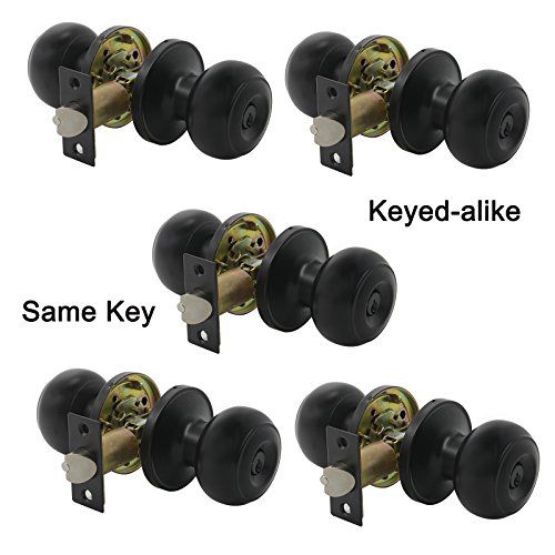 (Gobrico Keyed-Alike Exterior Door Knobs Flat Ball Door Locksets with Same Key, 5Pack)