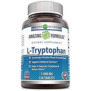 Amazing Formulas L-Tryptophan - 1000 Mg, 120 Tablets - Encourages Positive Mood & Restful Sleep - Supports Immune Function - Helps to Improve Circulation ...