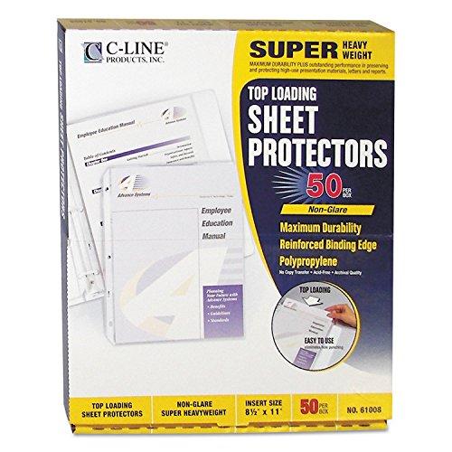 C-Line Top Loading Super Heavyweight Poly Sheet Protectors, Non-Glare, 11 x 8.5 Inches, 50 per Box (61008)