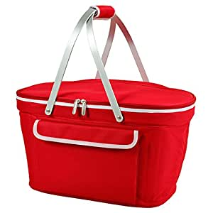 Picnic at Ascot Large Family Size Insulated Folding Collapsible Picnic Basket Cooler with Sewn in Frame - Red
