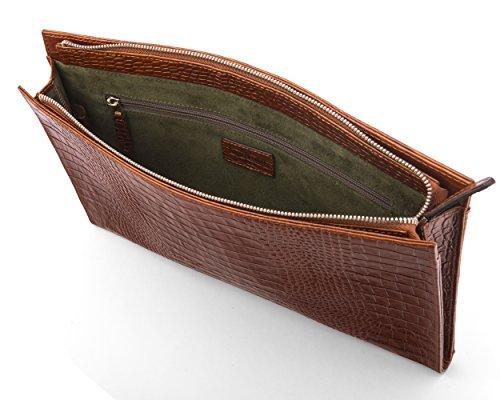 SAGEBROWN Tan Croc Zip Top Leather Folder