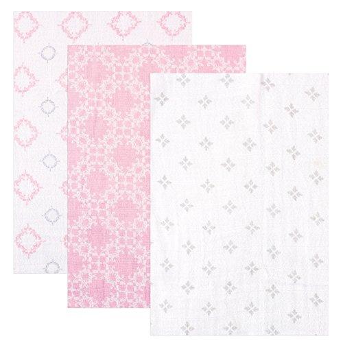 - Hudson Baby 3 Piece Muslin Swaddle Blankets, Pink Damask, 46