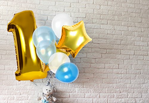 Wild One Birthday Decoration Kit Balloons First Decorations Boy Or Girl Ft Light And Dark Blue White Latex Star Number 1 Foil