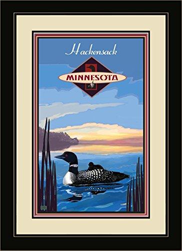 Northwest Art Mall JK-1652 MFGDM LOO Hackensack Minnesota Loon Framed Wall Art by Artist Joanne Kollman, 13 by - Mall Hackensack
