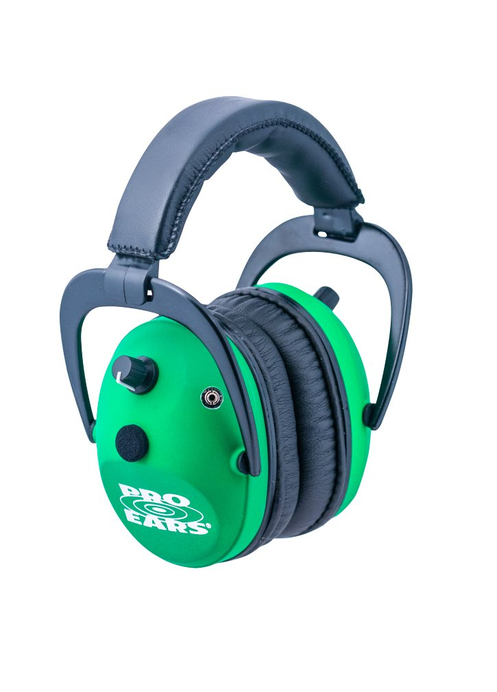 Pro Ears - Predator Gold - Hearing Protection and Amplfication - NRR 26 - GSP300NG - Contoured Ear Muffs - Neon Green
