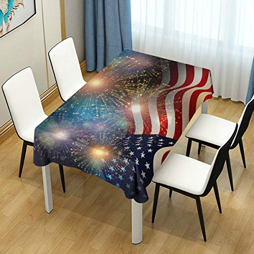 Naanle United States Flag Fireworks for USA Independence Day Fourth of July Rectangle Tablecloth 60