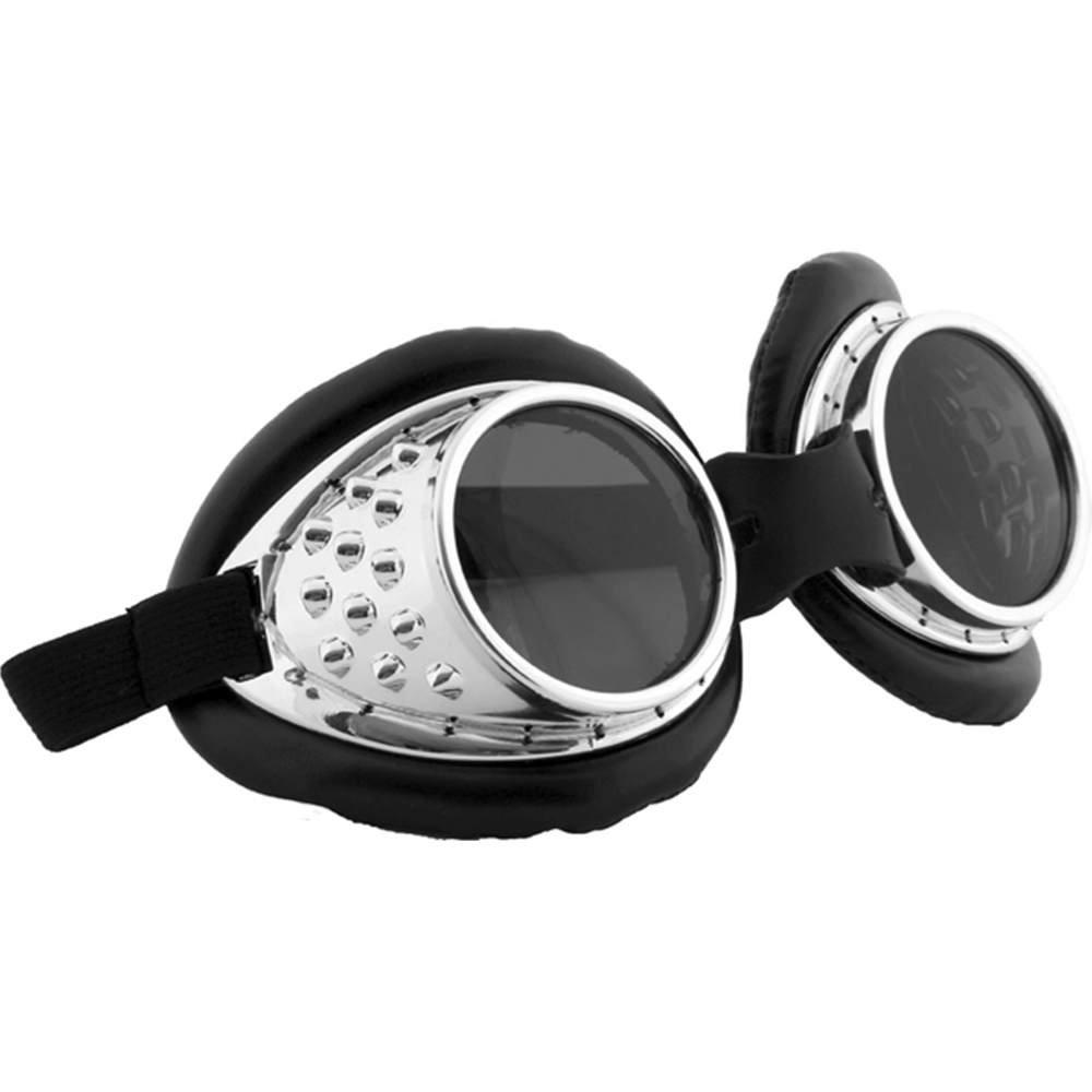 elope Radioactive Steampunk Aviator Goggles Silver 300134