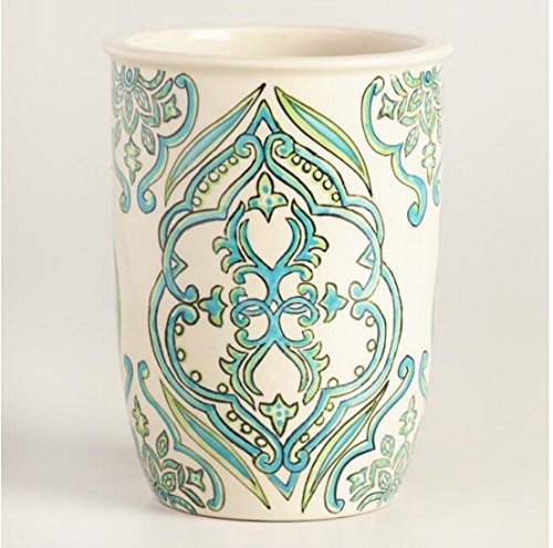 Hand Painted Paper Shade (Utensil Holder Utensil Crock Utensil Organizer Caddy Ceramic Large STURDY Hand Crafted and Hand Painted, Turquoise Blue and white, Pacific Ocean Inspired Design.)