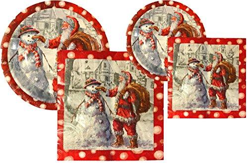Paper Plate Santa - Christmas Holiday Santa Snowman Paper Plates