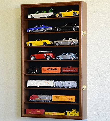 Large 1 24 Scale Diecast Model 16 Cars Display Case Cabinet Holder Holds 16 Cars 1 24 Walnut Finish