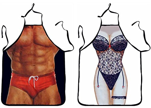 FASHION ALICE Sexy Beauty Girl+Muscle Macho Man Apron Anime Cartoon,2PCS Couples Apron Kitchen Aprons Funny Personality Sexy Originality Cooking Aprons Christmas Gift,Include a Gift (Funny Couple Halloween Costume)
