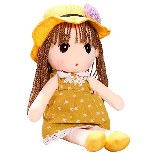 Houwsbaby Stuffed Rag Doll for Girl Soft Plush Toy Adorable Cuddly Gift in Pretty Floral Dress Hat Home Decor, 17 inches (Yellow)]()