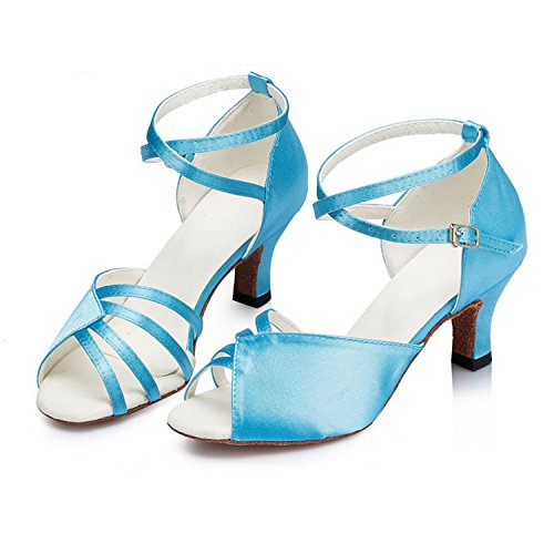 Ballroom Women's Salsa Heel Chunky Latin Dance Shoes Dance Peep Buckle Shoesland Blue Toe Tango W159 zpT05nxqR