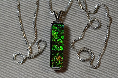 "Green Dragon Scale Ammolite Bar Pendant 20x6mm With 16"" Necklace"