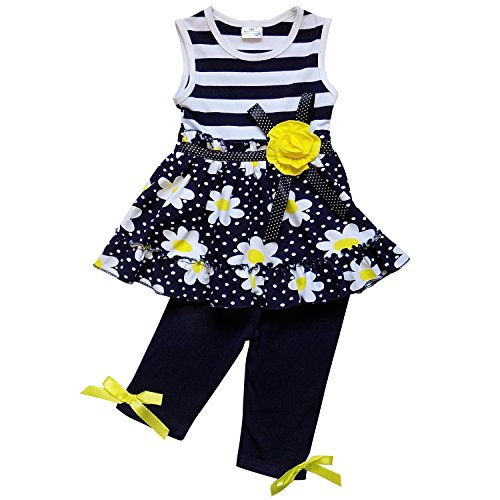 Price comparison product image So Sydney Girls Toddler 2-4 Pc Novelty Spring Summer Top Capri Set Accessories (M (4T),  Stripe Navy Daisy)