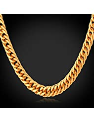 """My Times_CA_Jew: """"Hiphop Gold Chain For Men Jewlery Ethiopian Trendy """"""""18K"""""""" Stamp Real Gold Plated Cuban Link Chain For Men Necklace N702"""""""