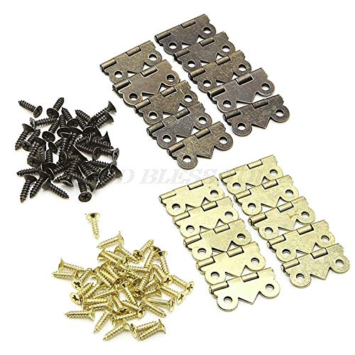 Hinge - 10pcs 20mm X17mm Bronze Gold Silver Mini Butterfly Door Hinges Cabinet Drawer Jewellery Box Hinge - Overlay Angle Lift Pack Modern Pulls Brushed Partial Bronze Liberty Vintage Inset Ou