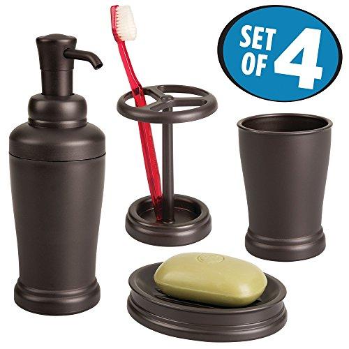 Tumbler Soap Dish Toothbrush Holder - mDesign Bathroom Tumbler, Toothbrush Holder, Soap Dish and Liquid Soap Pump Set - Set of 4, Bronze