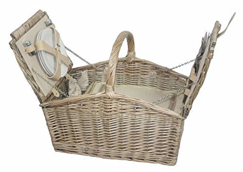 Deluxe Retro Double Lidded Wicker Fitted Picnic Basket by Red Hamper