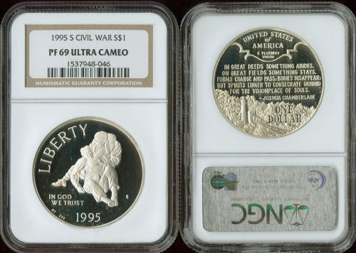1995 S Civil War Proof Silver Dollar NGC PF-69 Ultra Cameo