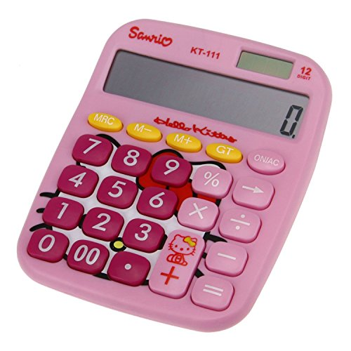 AUCH Cute Kitty 12 Digit Solar Powered Desktop Calculator, LCD Display, - Kitty Desktop