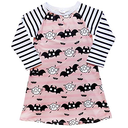 So Sydney Girls or Toddler Fall Holiday Polka Dot, Scroll, Stripe Pumpkin Dress (XS (2T), Bats Pink) -