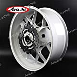 Arashi Rear Wheel Rim and Brake Rotor Disc Disk for HONDA CBR600RR 2007-2017 Motorcycle Accessories CBR 600 RR CBR600 600RR 600CC White 2008 2009 2010 2011 2012 2013 2014 2015 2016
