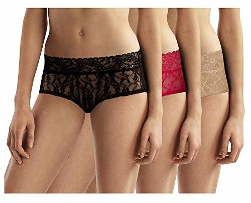 DKNY Women's Lace Collection Intimate Bikini Elevated Look Full Coverage, 3 pair, Med