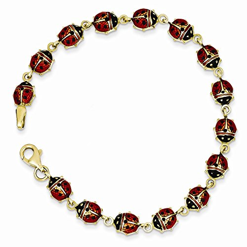 14k Ladybug Charm Bracelet (14K Yellow Gold Red Enamel & Resin Ladybug Bracelet 7 Inch)