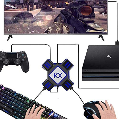 GZW-Shop Convertidor de Teclado y ratón, Adaptador KX de Controlador de Mando de Juego para ratón/Teclado portátil USB 2.0 Compatible con PS4/Xbox ...
