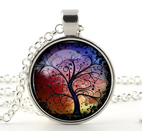 Life Charm Necklace - Silver Charm & Chain- Tree of Life Necklace Pendant - Gifts for Her Mum Girls