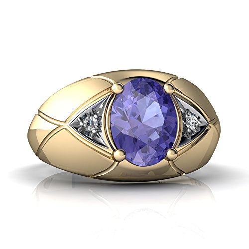 - 14K Yellow Gold Tanzanite and Diamond Oval Men's Ring - Size 7