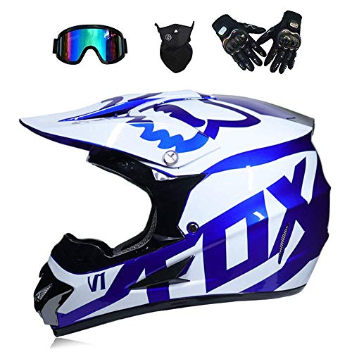 Adult Motorbike Helmets Road Racing MX Helmet Dual Sport Off Motocross Locomotive Karting ATV Motorcycle Headguard Included Mask Gloves Goggles(S,M,L,XL) (Blue, L)