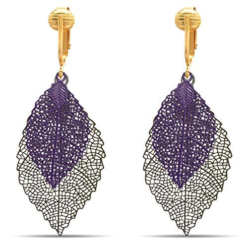 Aloha Earrings Lovely Victorian Filigree Clip On Earrings for Women & Clip-ons, Lightweight Teardrop Leaf Dangle (Purple/Brown Leaves)