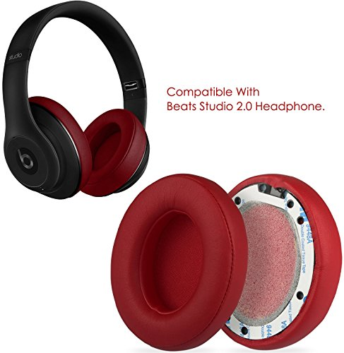 Leather Ear Pad - GPCT [Protein Leather Replacement Ear Pads] for Beats Studio 2.0 Headset. Easy Installation, Memory Foam Ear Cups Cushion Cover, Lightweight Ear Caps for Wired/Wireless Headphone [2 Pieces] [RED]