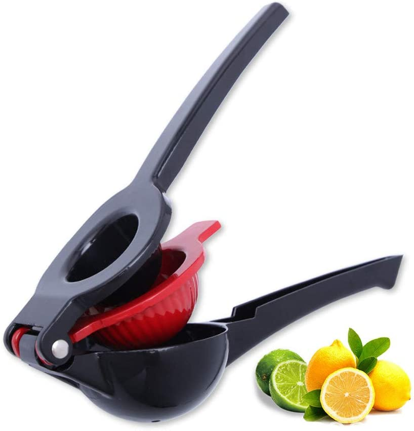 Manual Juicer – Premium Aluminum Lemon Juicer – Lemon and Lime Squeezer – Sturdy and Durable – Food-Grade Non-BPA Material – Ergonomic Zero-Waste Design – Easy to Clean (Black and red)