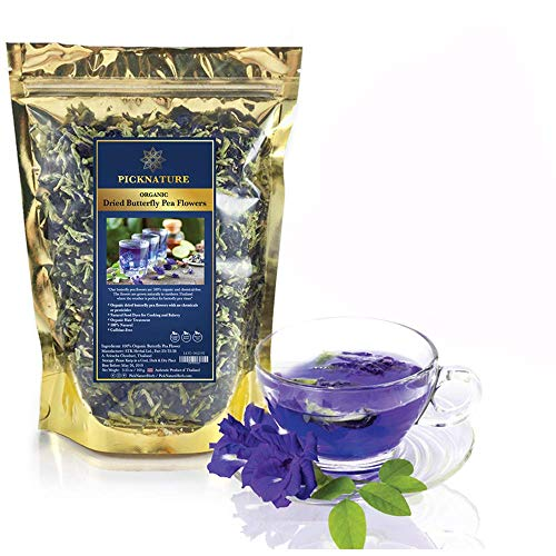 Premium Thai Herb Organic Dried Butterfly Pea Flowers Tea, (3.55 oz.)Use to Cook, For Thai Food, Beverage, Cake or Cookie -