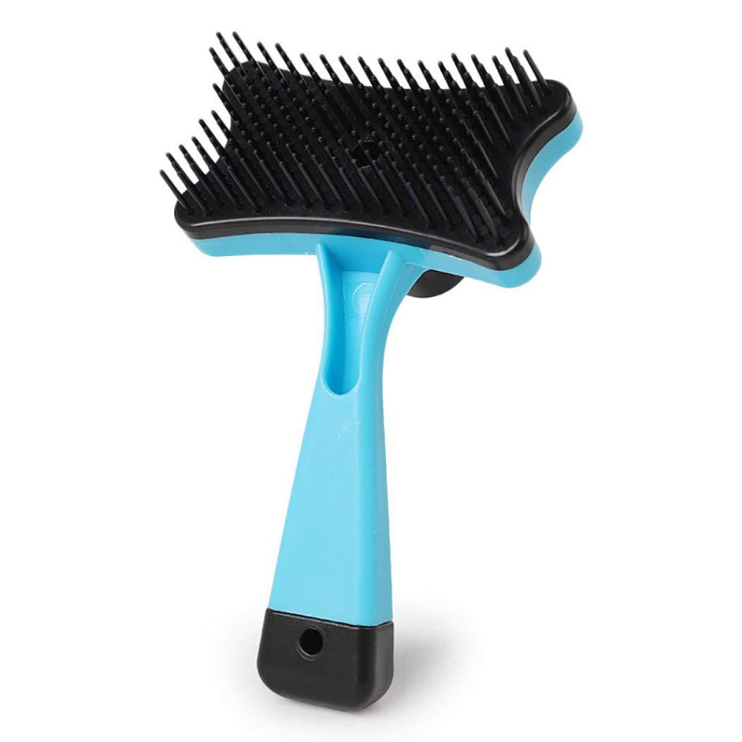 Self Cleaning Slicker Brush Pet, Dog Cat Hair Fur Shedding Trimmer Grooming Rake Comb Tool (Sky Blue)