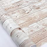 """Wood Contact Paper 17.71"""" X 32.8 Ft Self-Adhesive Removable Wood Peel and Stick Wallpaper Decorative Wall Covering Vintage Wood Panel Interior Film Leave No Trace Surfaces Easy to Clean"""
