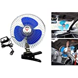 Happykueen 12V 8 inch Car Oscillating Fan Automobile Car Fan Vehicle Cooling Fan With Clip and Cigarette Lighter Plug