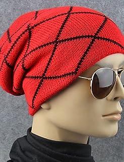 ZYT Adulti Primavera/Autunno Inverno Acrilico Cappelli A Falda Larga,Solidi Tinta Unita, Red, One-Size