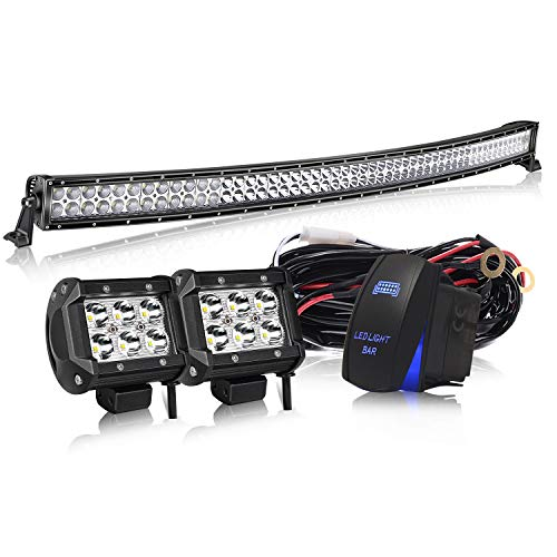 KEENAXIS DOT Approved 54 In 312W Curved LED Light Bar Offroad W/Rocker on