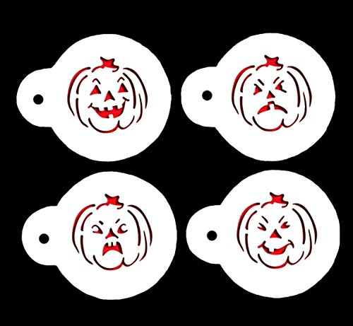 Yunko Halloween Cupcake Stencils Cookie Template Set Color White (4pcs Pumpkin)