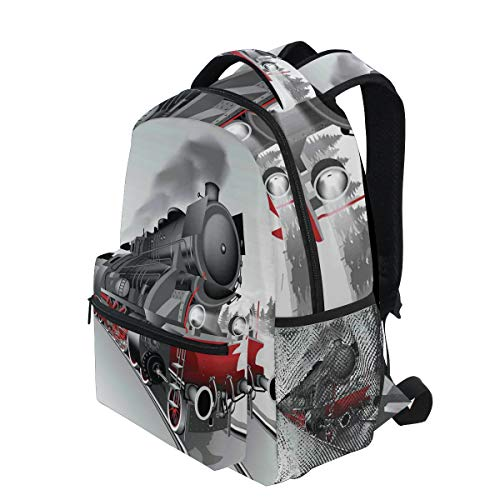 KVMV Locomotive Red Black Train with Headlights On Steel Railway Track Graphic Print Lightweight School Backpack Students College Bag Travel Hiking Camping Bags