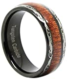 Silver Tungsten Carbide Red Wood Inlaid Men's 8mm Flat Top Wedding Band Ring,Size 8